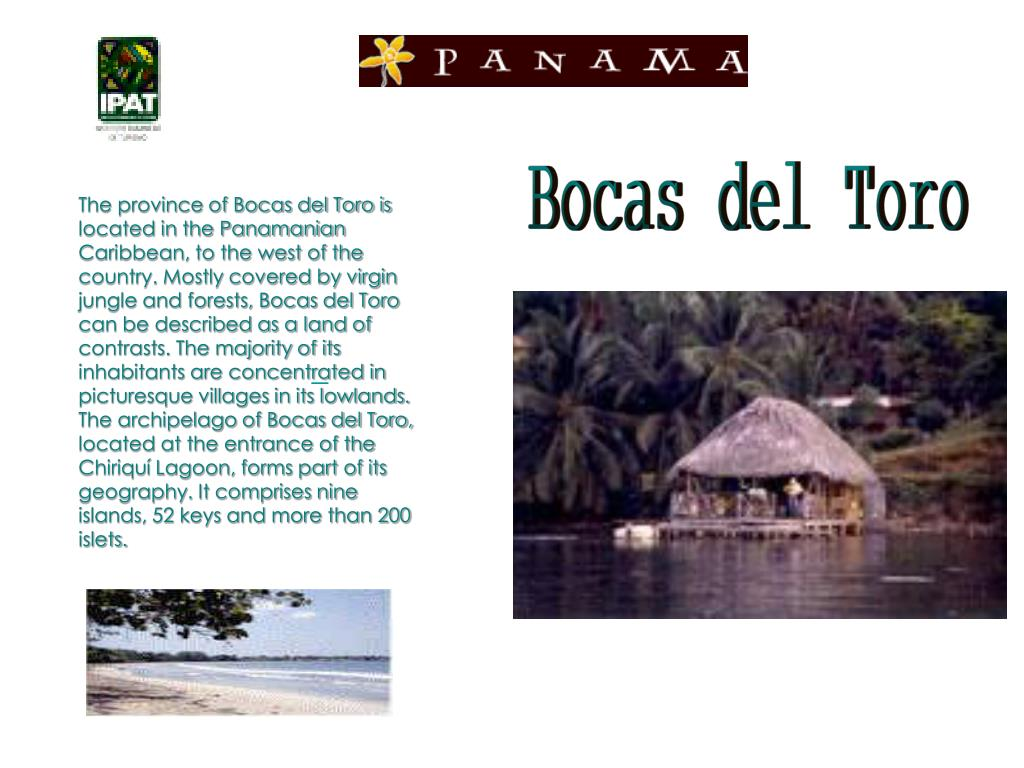 The province of Bocas del Toro is located in the Panamanian Caribbean, to the west of the country. Mostly covered by virgin jungle and forests, Bocas del Toro can be described as a land of contrasts. The majority of its inhabitants are concentrated in picturesque villages in its lowlands. The archipelago of Bocas del Toro, located at the entrance of the Chiriquí Lagoon, forms part of its geography. It comprises nine islands, 52 keys and more than 200 islets.