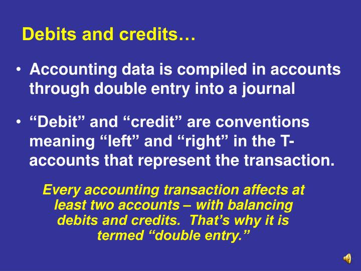 Debits and credits…