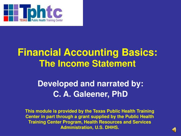 Financial accounting basics the income statement