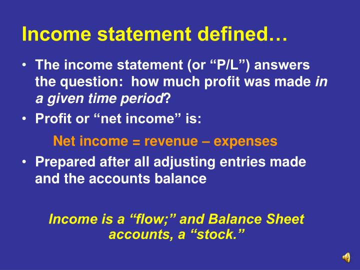 Income statement defined…