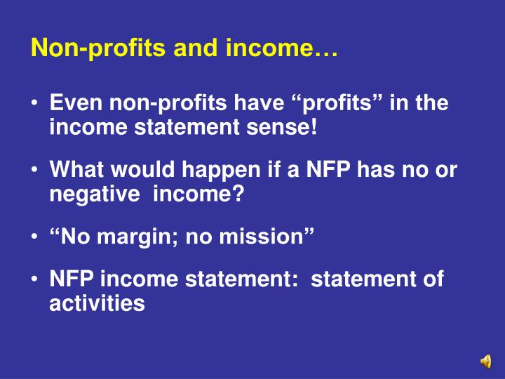 Non-profits and income…