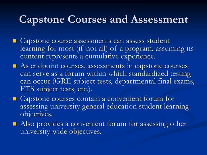 Capstone courses and assessment