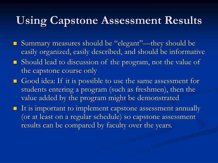 Using Capstone Assessment Results