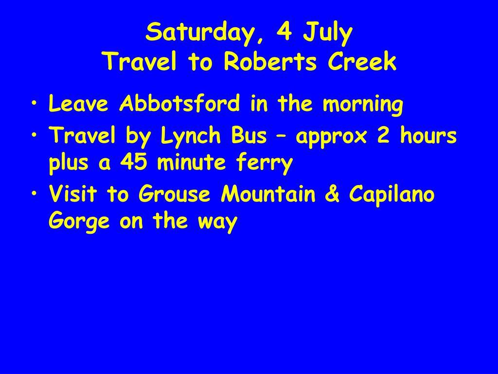 Saturday, 4 July
