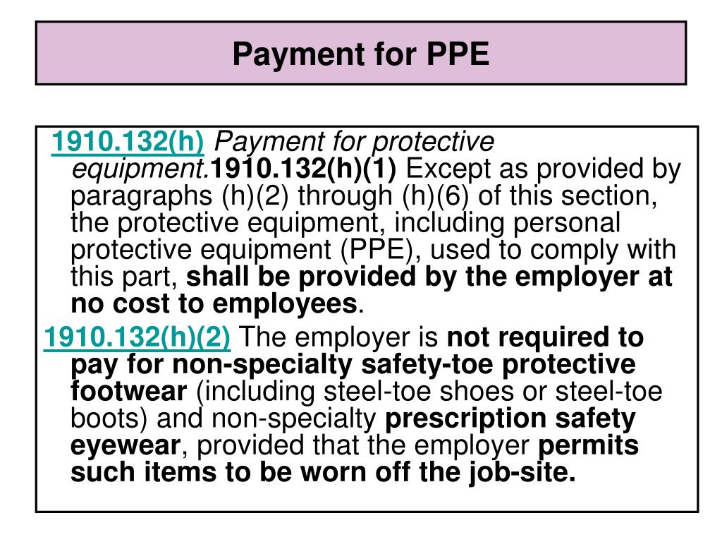 Payment for PPE