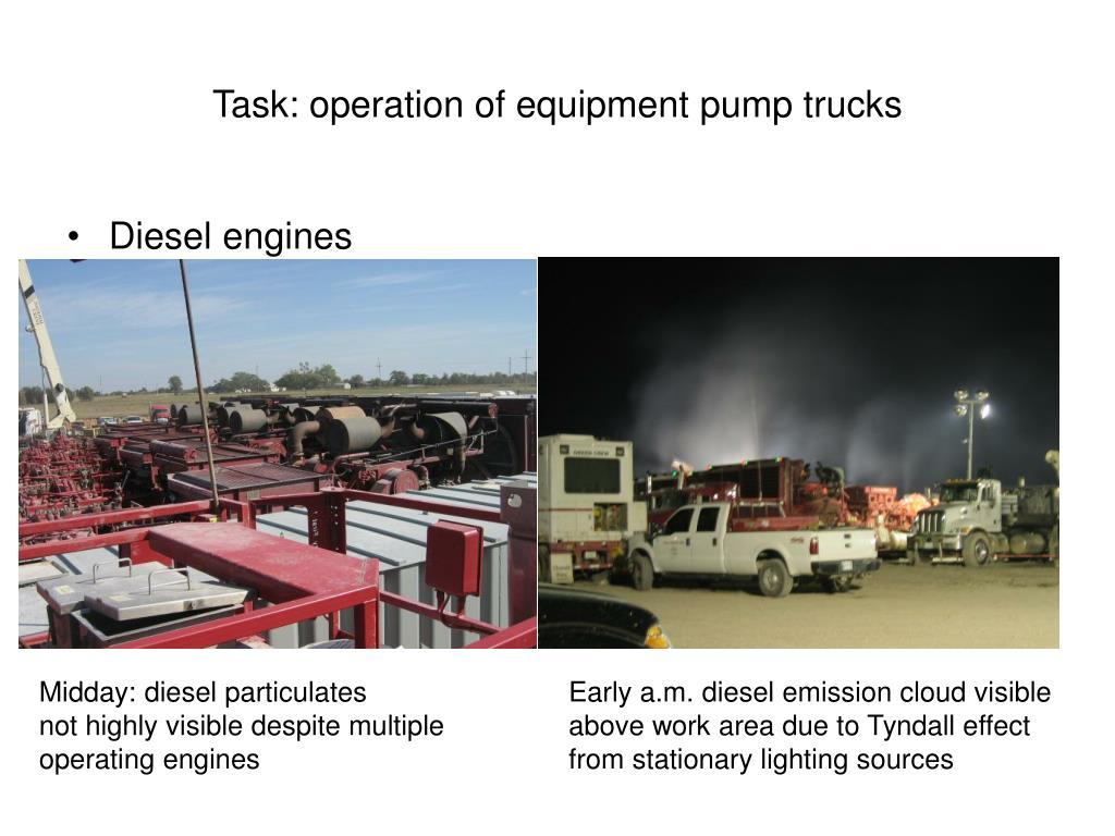 Task: operation of equipment pump trucks