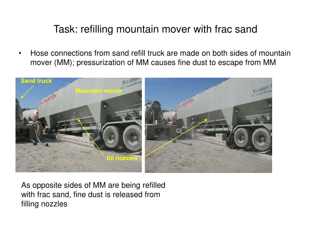 Task: refilling mountain mover with frac sand