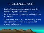 challenges cont