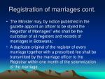 registration of marriages cont