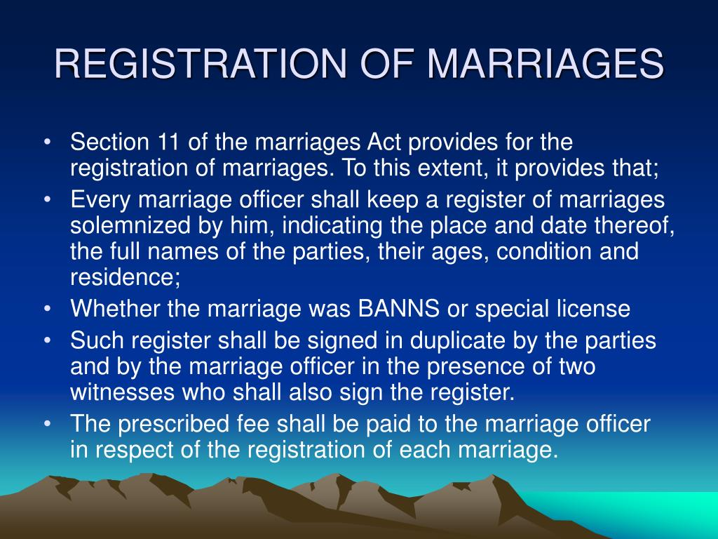REGISTRATION OF MARRIAGES