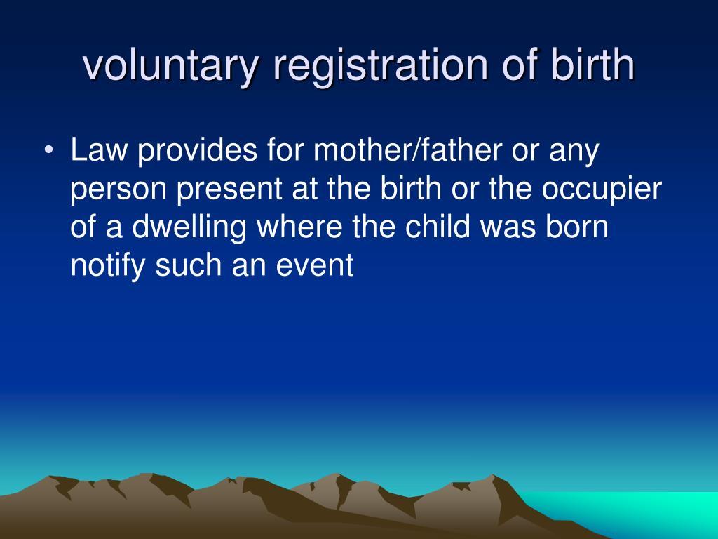 voluntary registration of birth