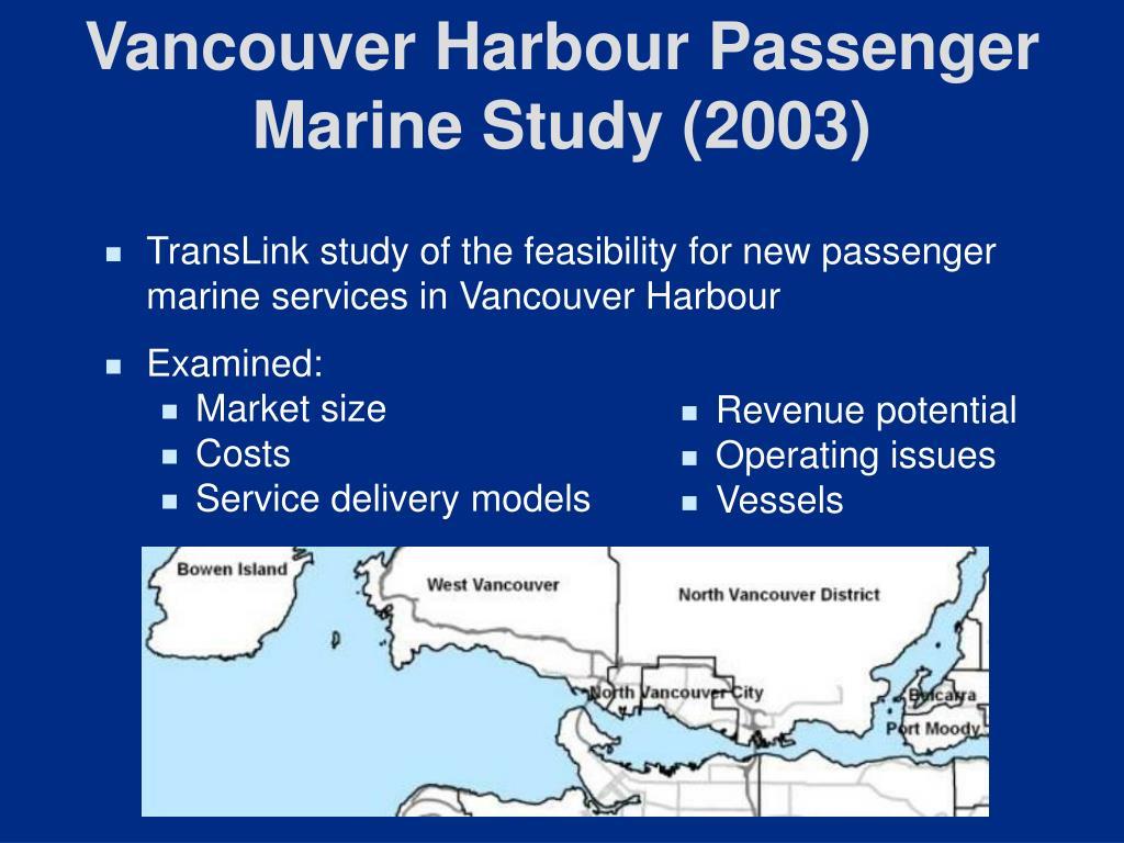 Vancouver Harbour Passenger Marine Study (2003)