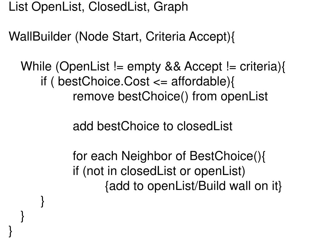 List OpenList, ClosedList, Graph