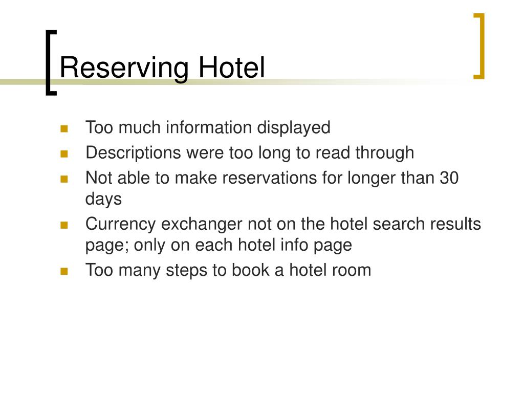 Reserving Hotel