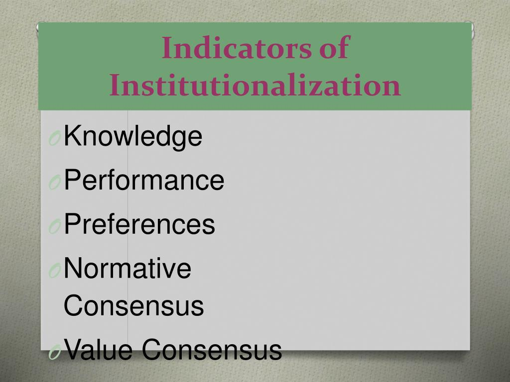 Indicators of Institutionalization
