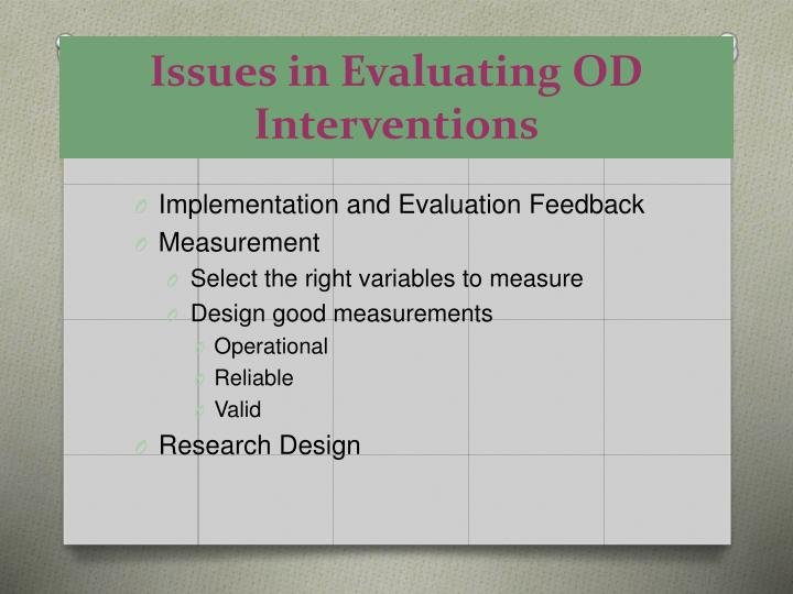 Issues in evaluating od interventions l.jpg