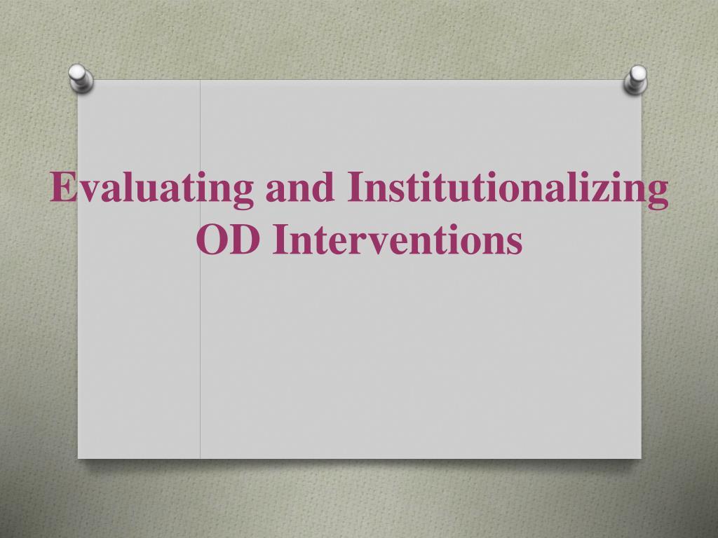 Evaluating and Institutionalizing