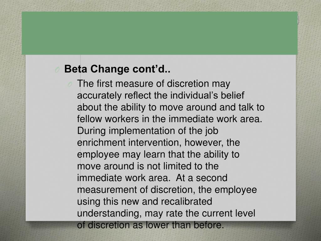 Beta Change cont'd..