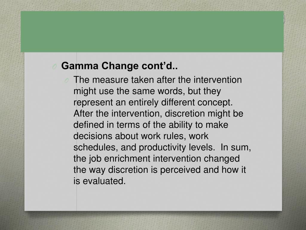 Gamma Change cont'd..