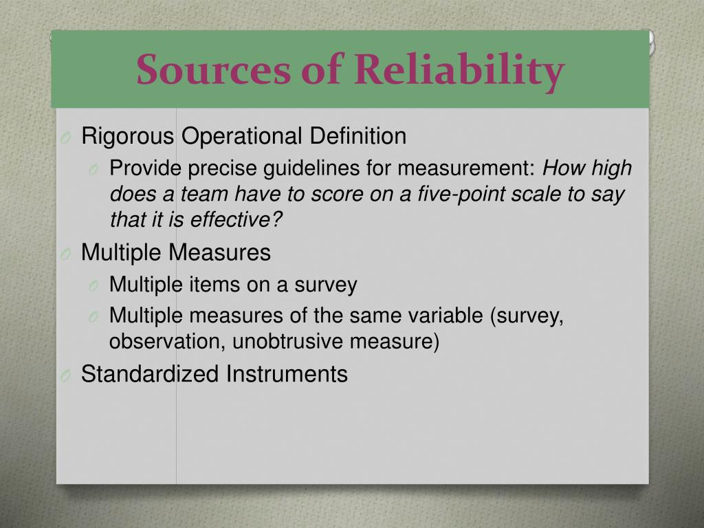 Sources of Reliability