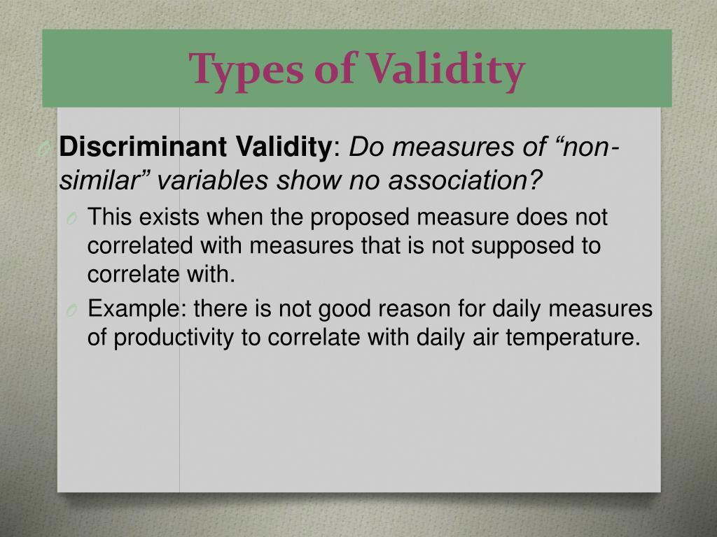 Types of Validity
