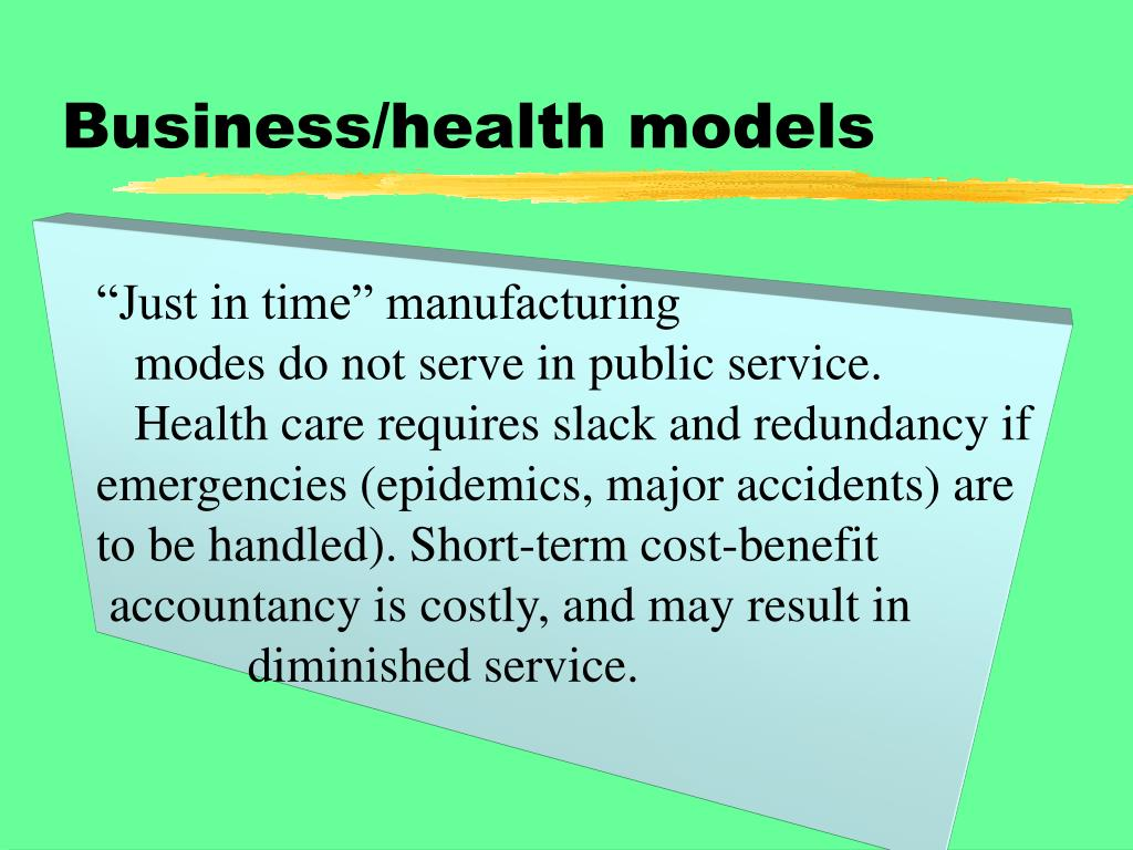 Business/health models