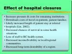 effect of hospital closures