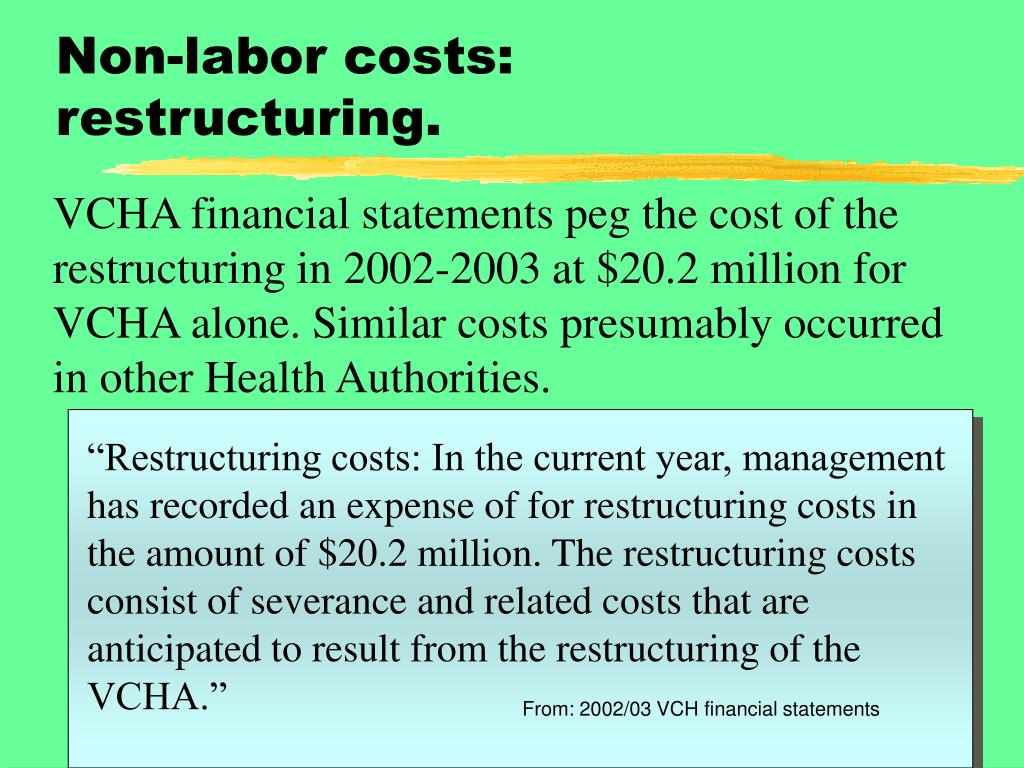 Non-labor costs: restructuring.