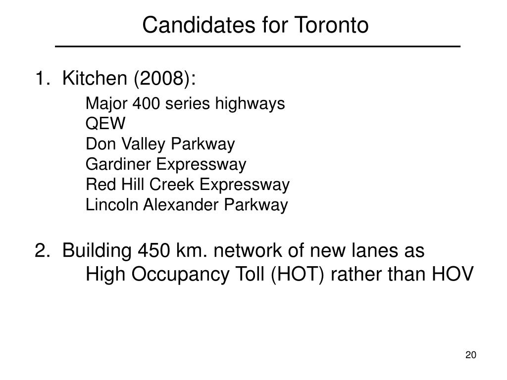 Candidates for Toronto