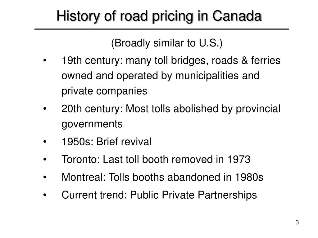 History of road pricing in Canada