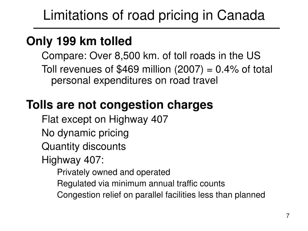 Limitations of road pricing in Canada