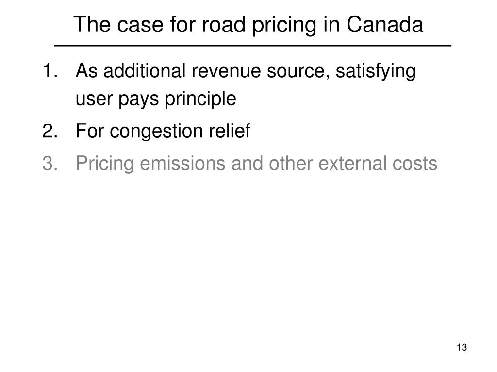 The case for road pricing in Canada