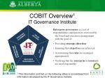 cobit overview 1 it governance institute