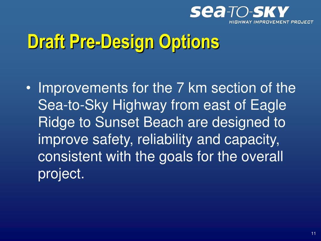 Draft Pre-Design Options