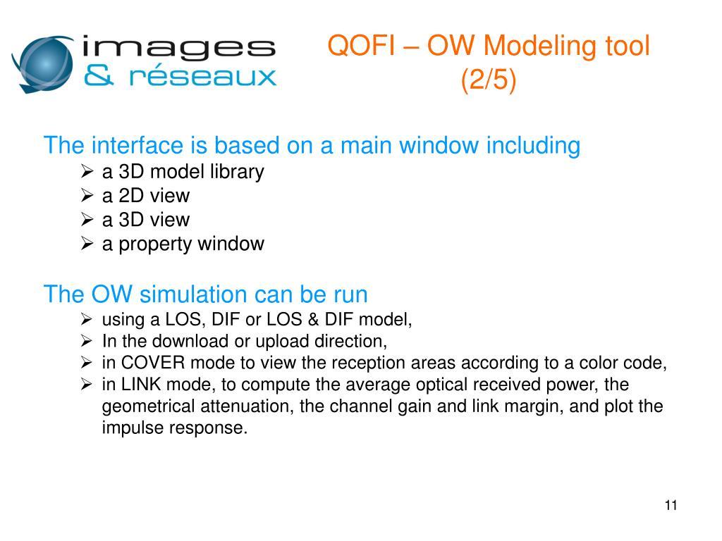 QOFI – OW Modeling tool (2/5)