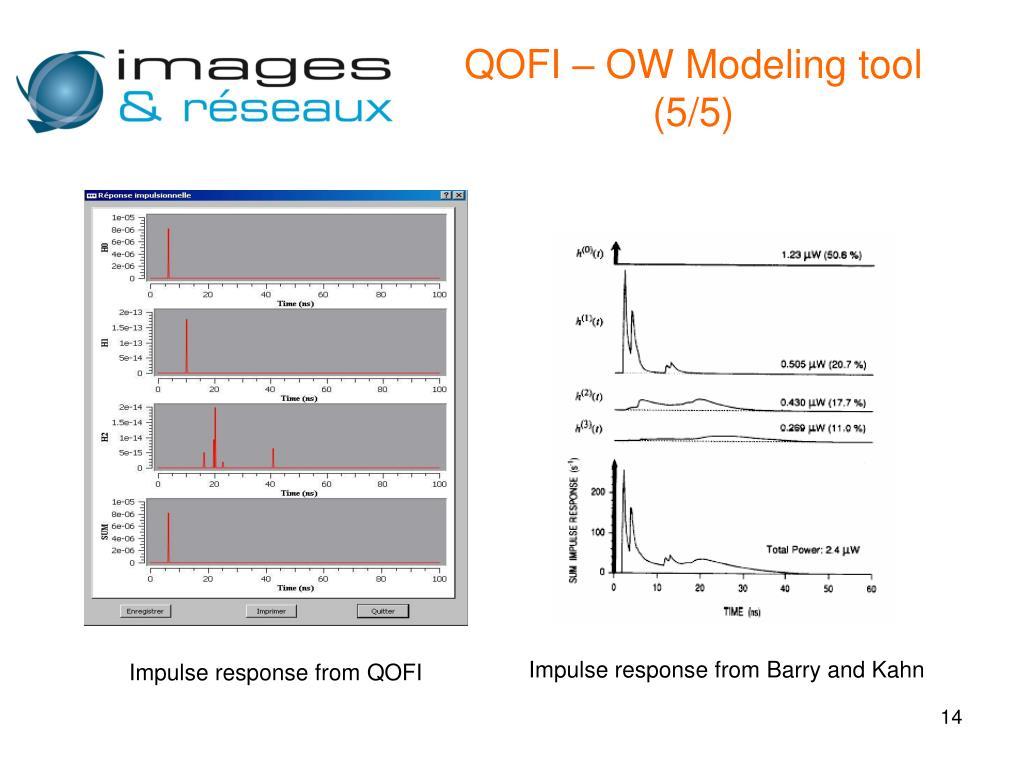 QOFI – OW Modeling tool (5/5)
