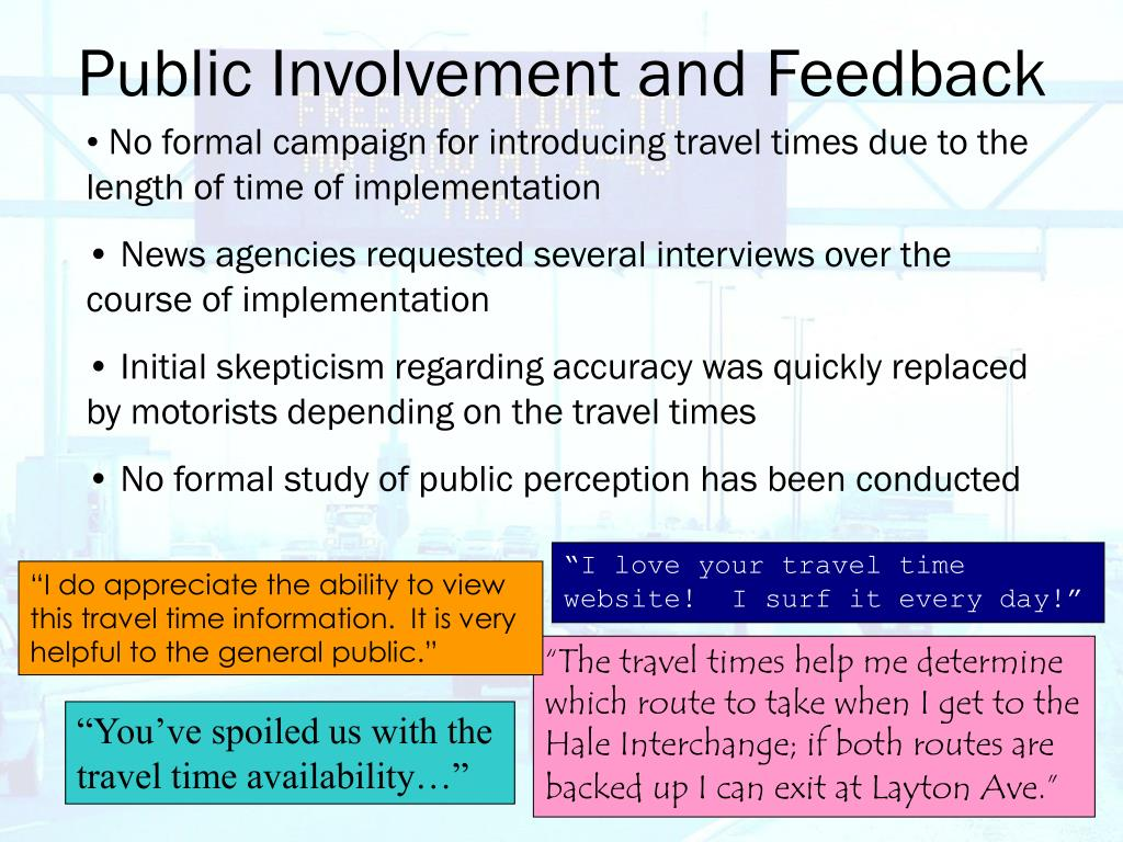 Public Involvement and Feedback