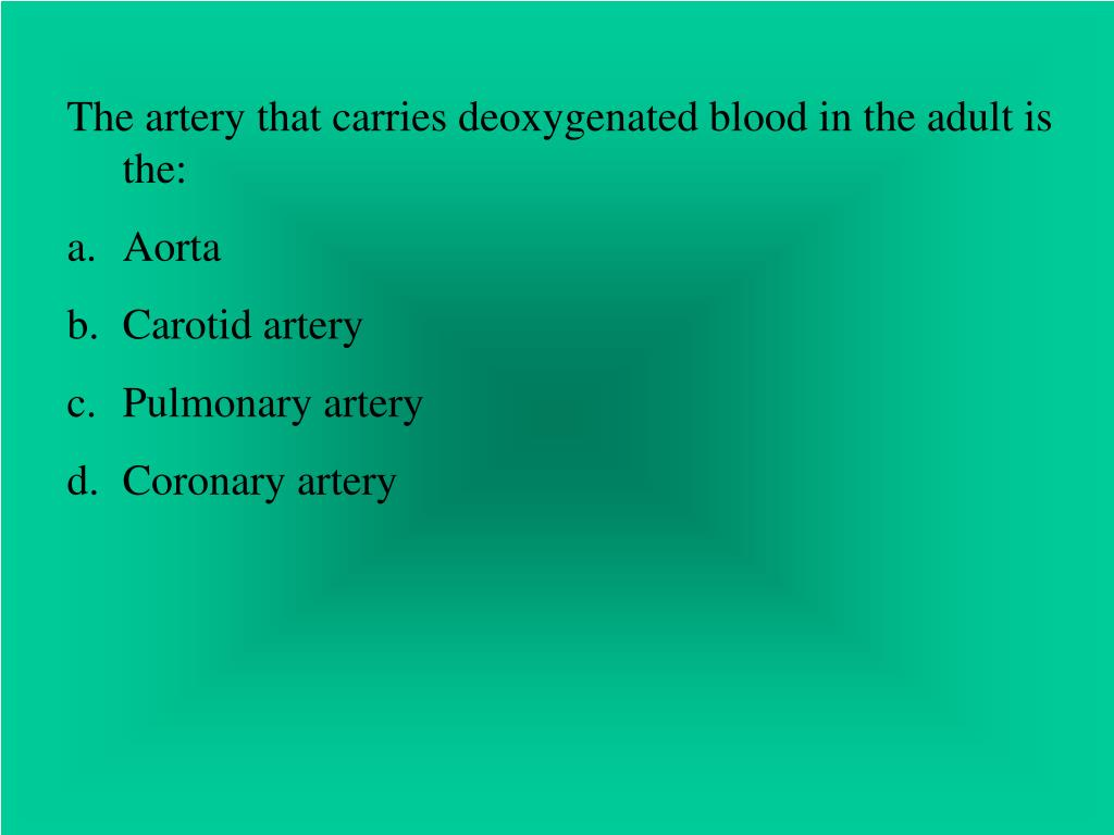 The artery that carries deoxygenated blood in the adult is the: