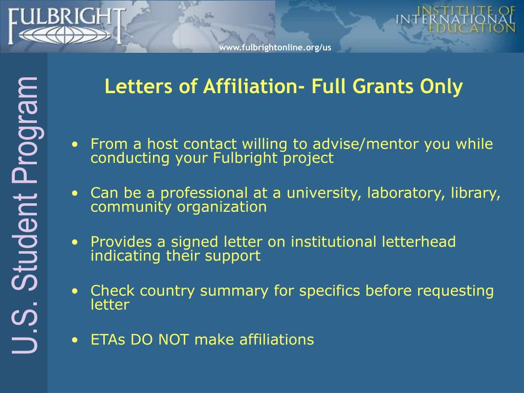 Letters of Affiliation- Full Grants Only