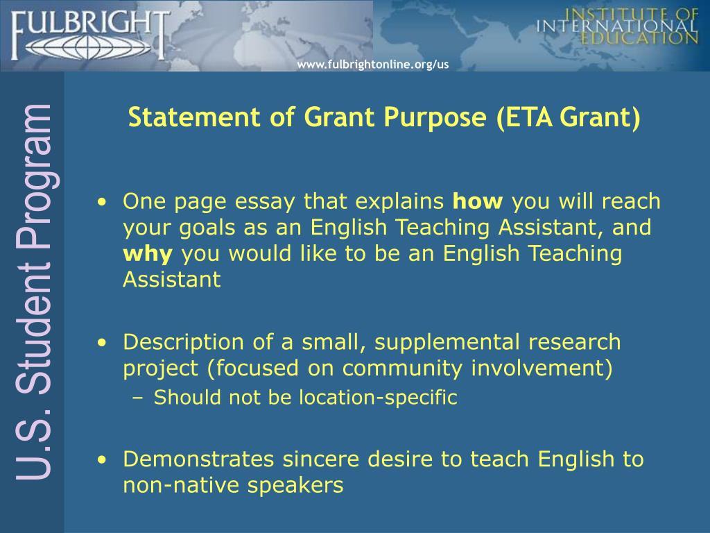 Statement of Grant Purpose (ETA Grant)
