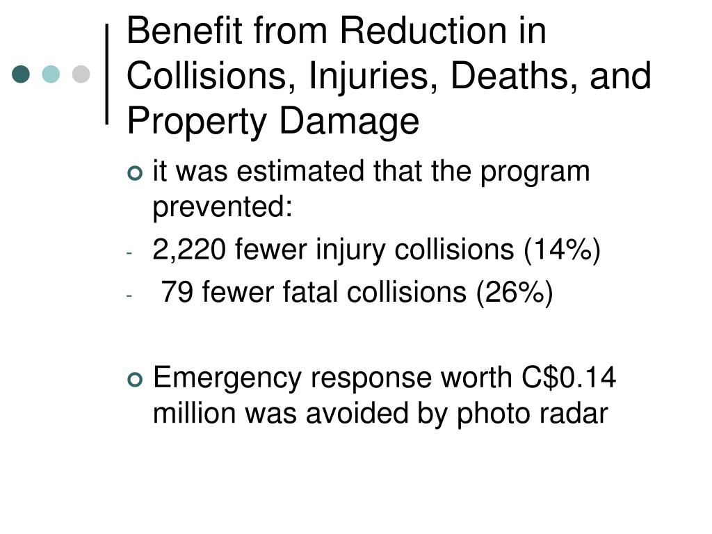 Benefit from Reduction in Collisions, Injuries, Deaths, and Property Damage