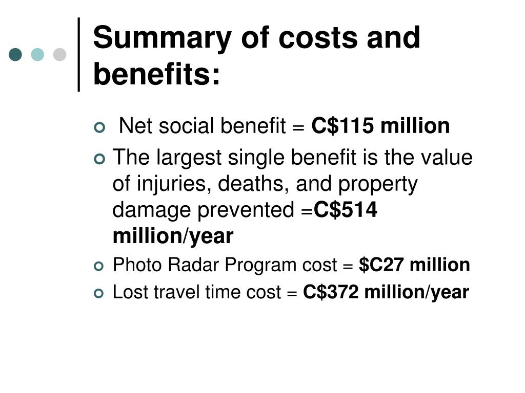 Summary of costs and benefits: