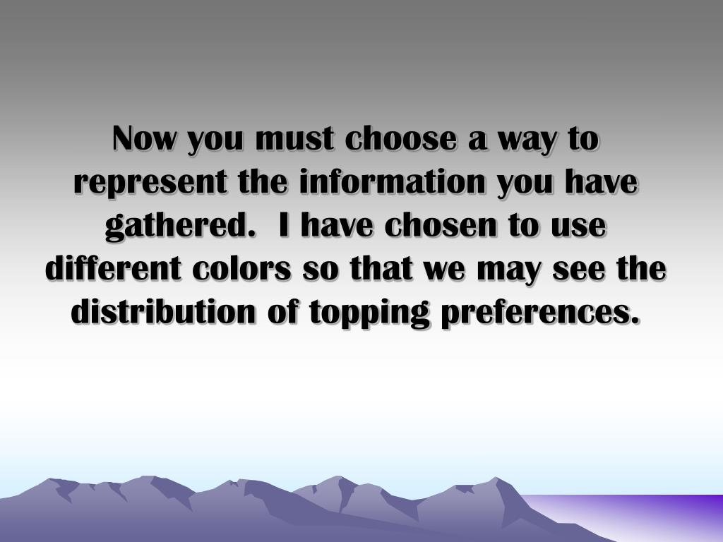 Now you must choose a way to represent the information you have gathered.  I have chosen to use different colors so that we may see the distribution of topping preferences.