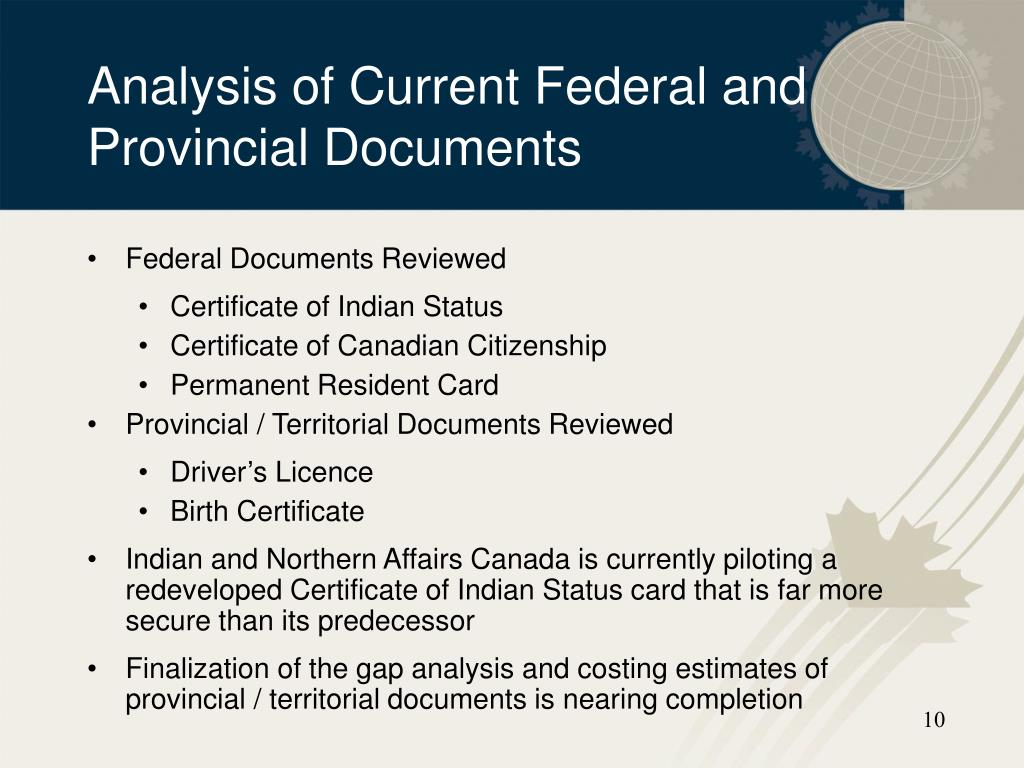 Analysis of Current Federal and Provincial Documents