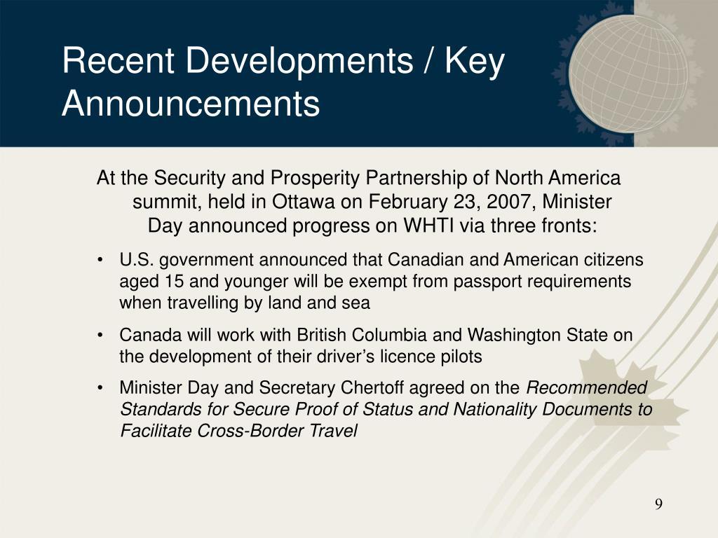 Recent Developments / Key Announcements