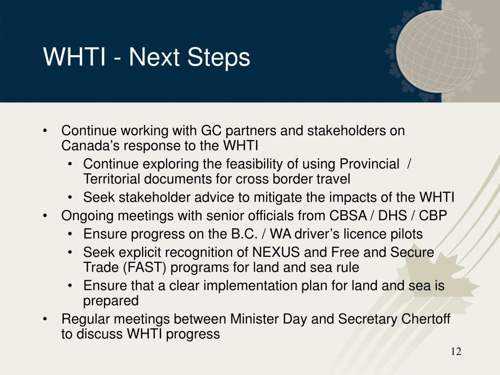 WHTI - Next Steps