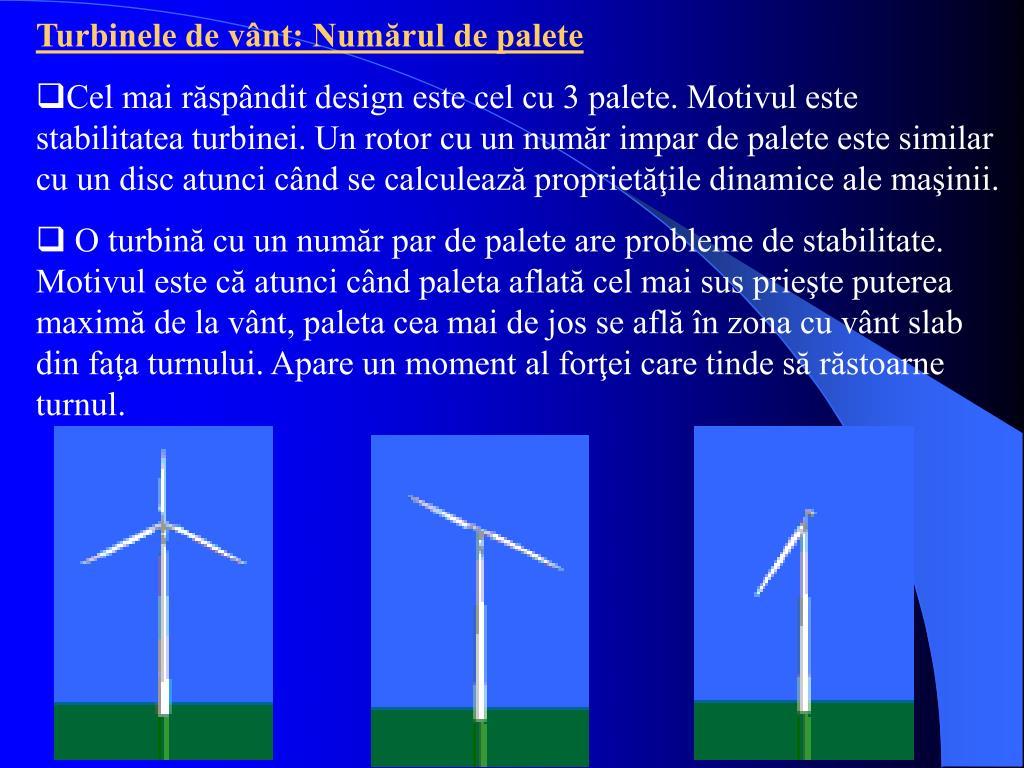 Turbinele de vânt: Numărul de palete