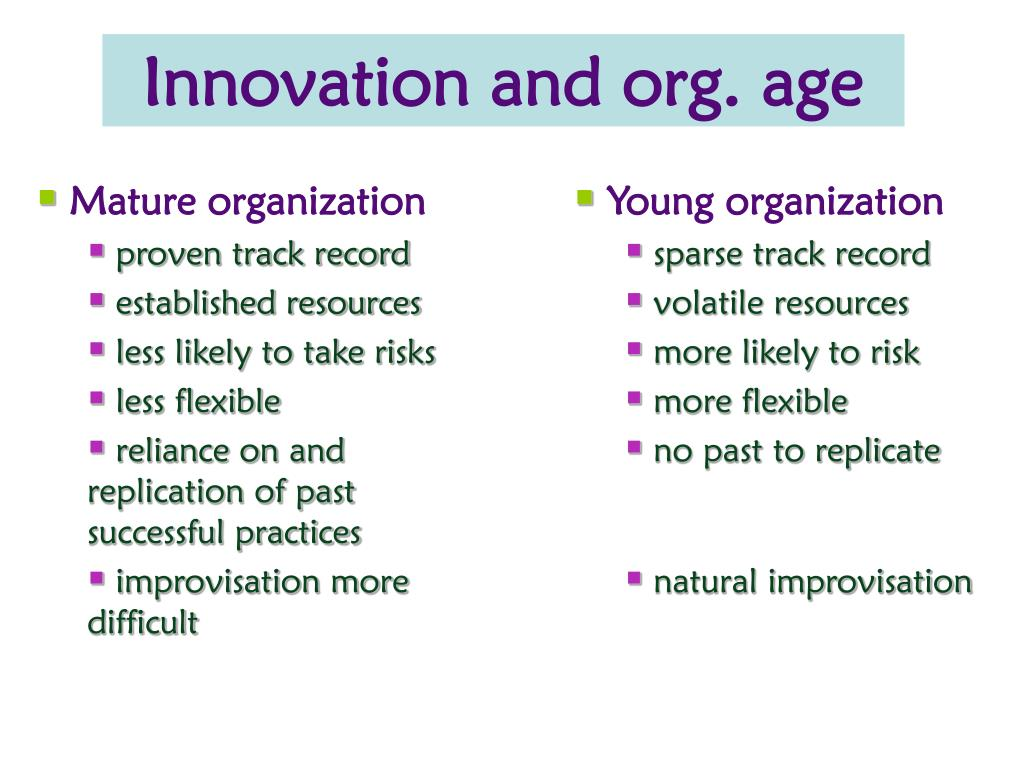 Innovation and org. age