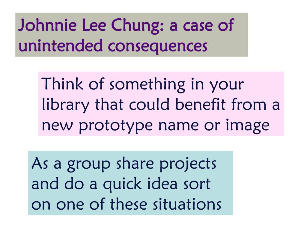 Johnnie Lee Chung: a case of unintended consequences