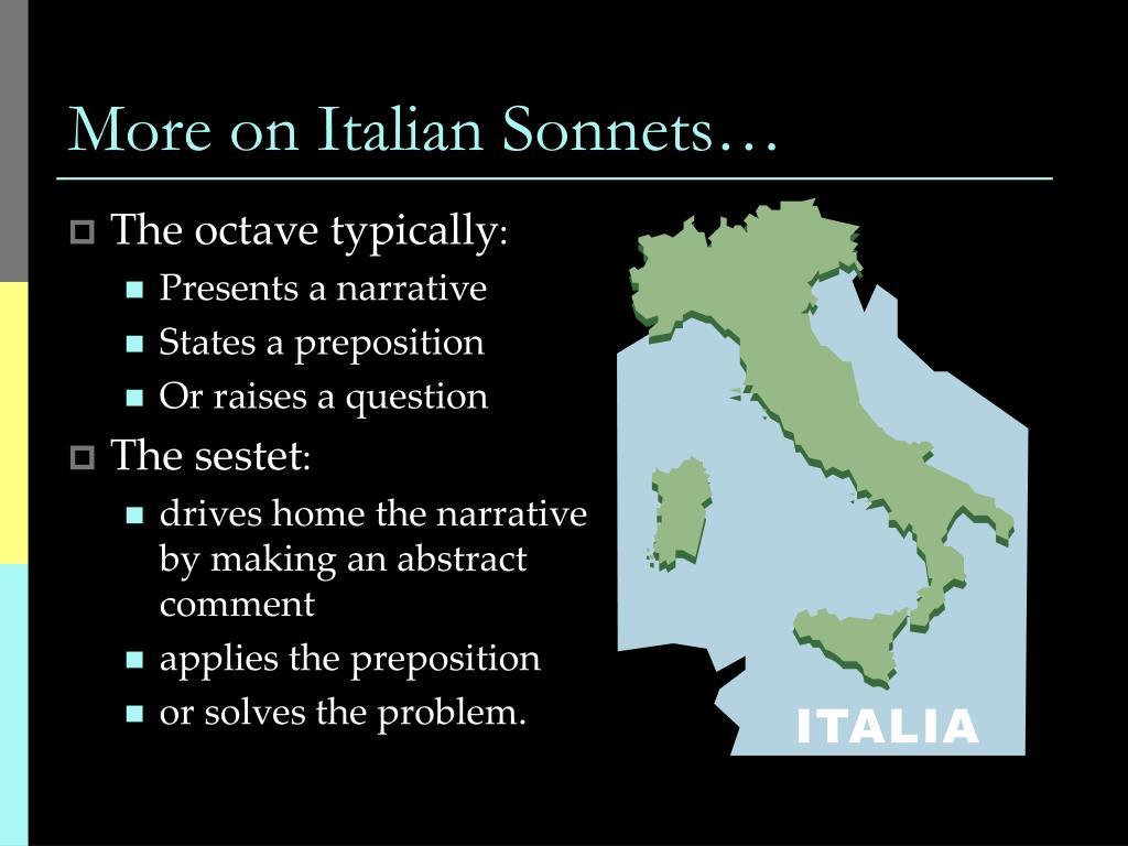 More on Italian Sonnets…